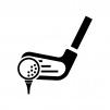 ゴルフ・アイアンとボールの白黒シルエットイラスト