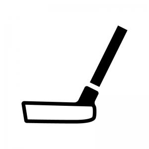 ゴルフ・パターの白黒シルエットイラスト