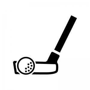 ゴルフ・パターとボールの白黒シルエットイラスト