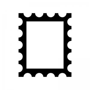 切手の白黒シルエットイラスト
