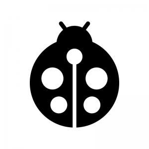 テントウムシの白黒シルエットイラスト02