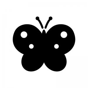 蝶々の白黒シルエットイラスト
