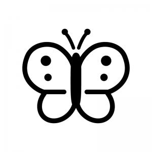 モンシロチョウの白黒シルエットイラスト