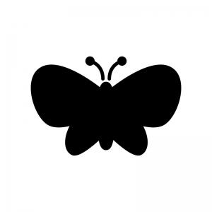 蝶々の白黒シルエットイラスト02