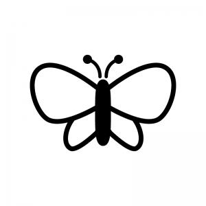 蝶々の白黒シルエットイラスト03