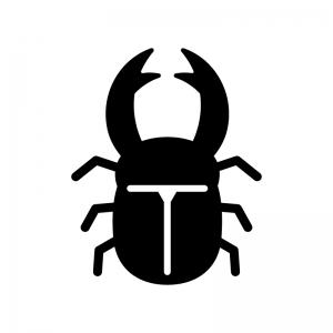クワガタの白黒シルエットイラスト