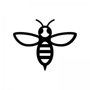 蜂の白黒シルエットイラスト