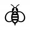 蜂の白黒シルエットイラスト02
