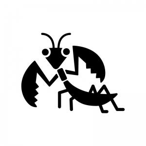 カマキリの白黒シルエットイラスト