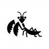 カマキリの白黒シルエットイラスト02