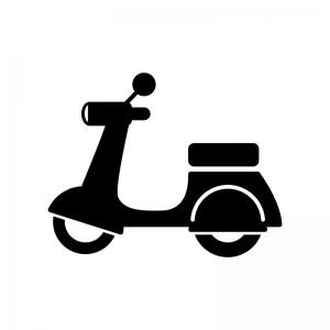 バイク・ベスパの白黒シルエットイラスト