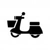 バイク・原付スクーターの白黒シルエットイラスト