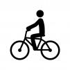 自転車に乗っている人物の白黒シルエットイラスト