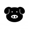 豚の顔の白黒シルエットイラスト