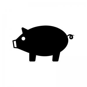 豚の白黒シルエットイラスト