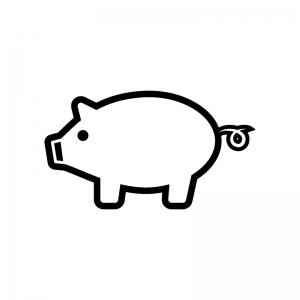豚の白黒シルエットイラスト02