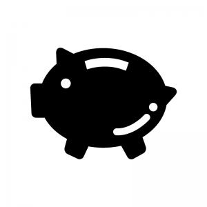 豚の貯金箱の白黒シルエットイラスト