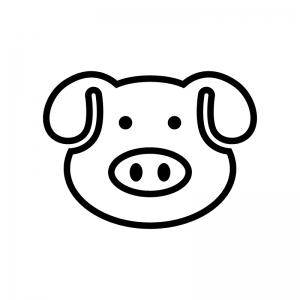 豚の顔の白黒シルエットイラスト02