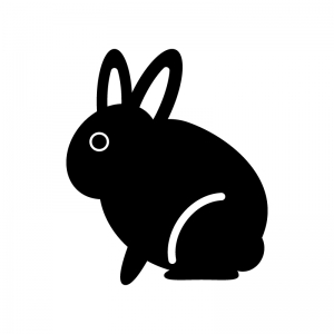 うさぎの白黒シルエットイラスト