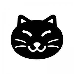猫の顔の白黒シルエットイラスト