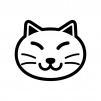 猫の顔の白黒シルエットイラスト02