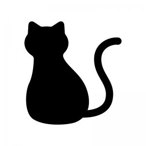 後ろ姿の猫の白黒シルエットイラスト