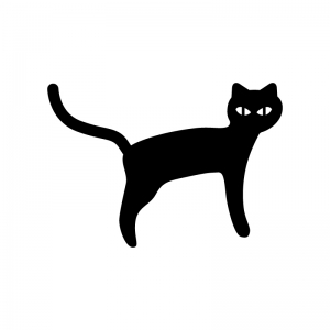 黒猫の白黒シルエットイラスト