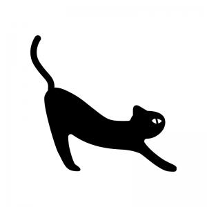 背伸びしている猫の白黒シルエットイラスト