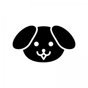 犬の顔の白黒シルエットイラスト
