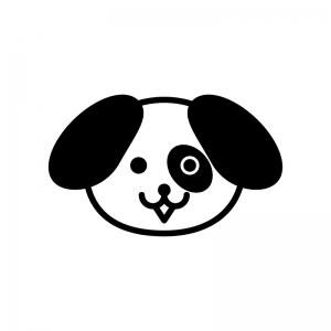 犬の顔の白黒シルエットイラスト02