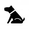 お座りしている犬の白黒シルエットイラスト