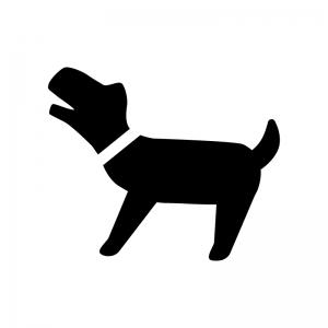 吠えている犬の白黒シルエットイラスト