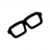 黒縁メガネの白黒シルエットイラスト
