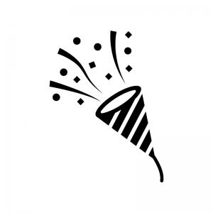 パーティークラッカーの白黒シルエットイラスト02
