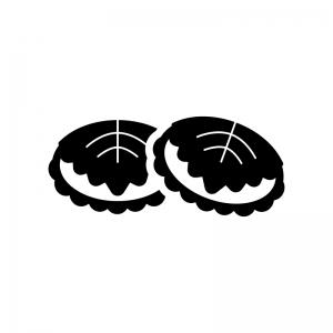 子供の日・かしわ餅の白黒シルエットイラスト