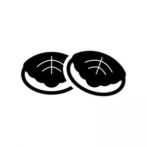 端午の節句・かしわ餅の白黒シルエットイラスト