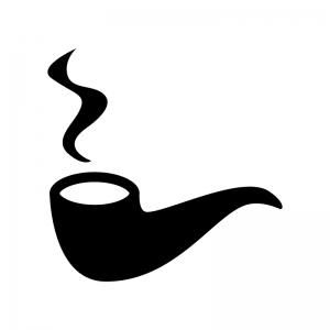 煙が出ているパイプ煙草の白黒シルエットイラスト