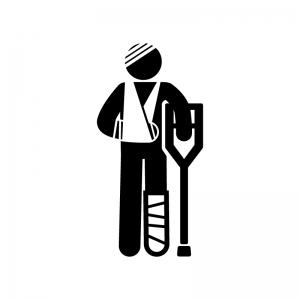けが・骨折した人のシルエット | 無料のAi・PNG白黒シルエットイラスト