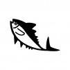 マグロの白黒シルエットイラスト02