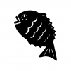 飛び跳ねている鯛の白黒シルエットイラスト
