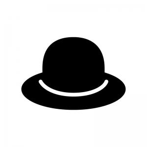 帽子の白黒シルエットイラスト