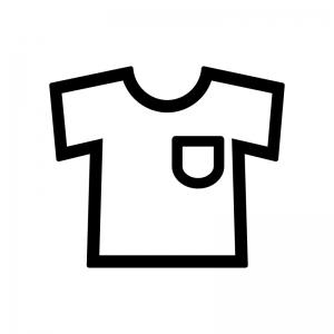 ポケット付きシャツの白黒シルエットイラスト
