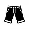 半ズボンの白黒シルエットイラスト