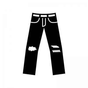 ダメージジーンズの白黒シルエットイラスト