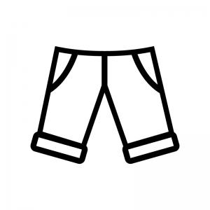 半ズボンの白黒シルエットイラスト02
