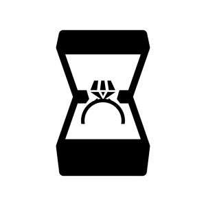 ケースに入ったダイヤの指輪の白黒シルエットイラスト