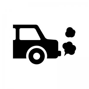 車のアイドリングの白黒シルエットイラスト