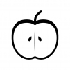 半分に切ったりんごの白黒シルエットイラスト