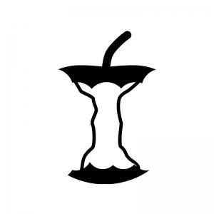 食べ終わった後のりんごの白黒シルエットイラスト