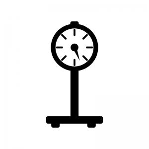 体重計(アナログ)の白黒シルエットイラスト02